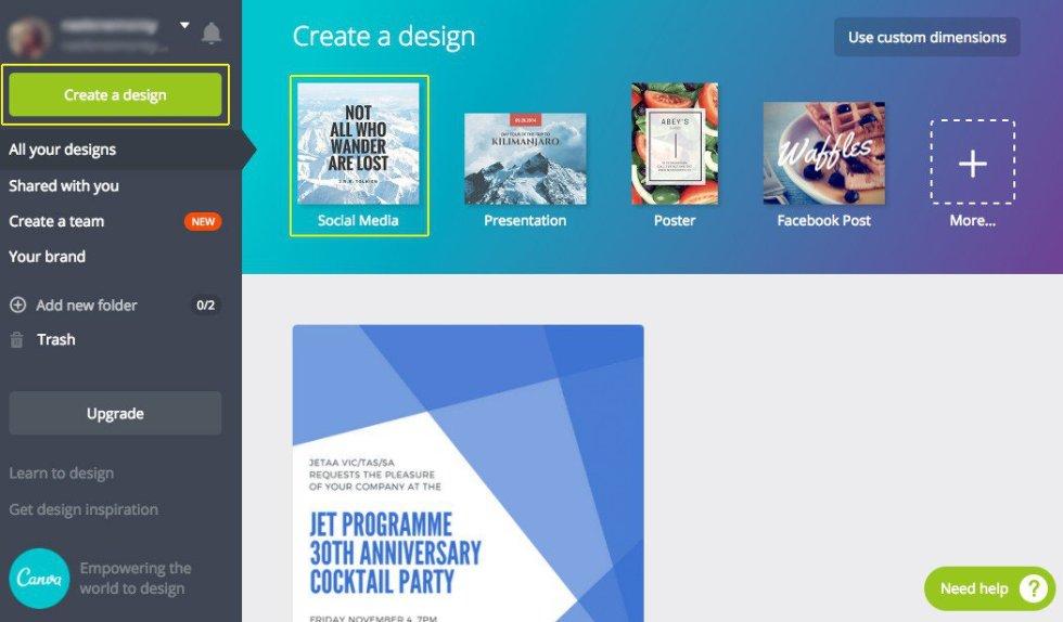 Créer un design pour les medias sociaux