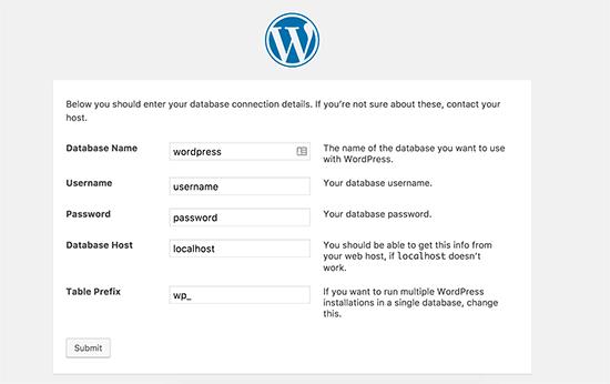 Créer une nouvelle installation wordpress