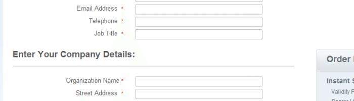 Detalhes para certificação SSL