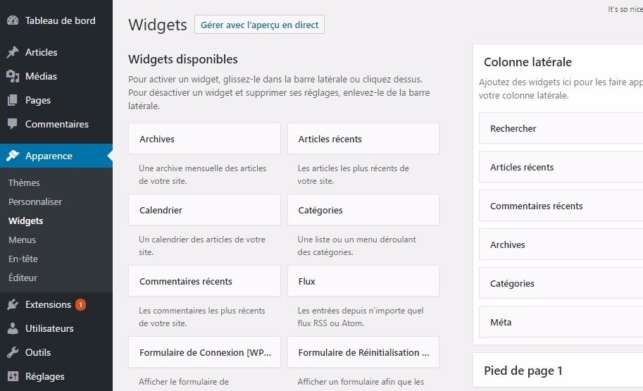 Widget wordpress tableau de bord