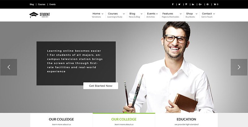 Student themes wordpress creer site web academique formation elearning