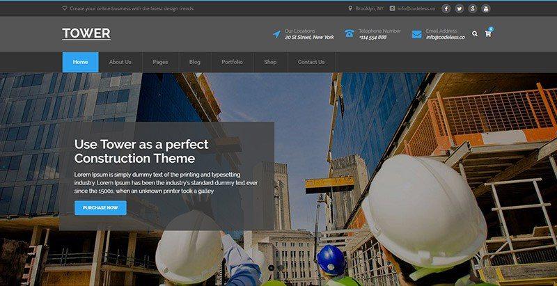 Tower themes wordpress creer site web entreprise construction genie civil renovation