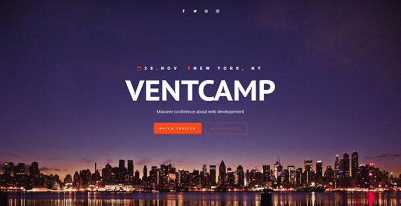 Ventcamp themes wordpress creer site web evenements conference congres point de presse