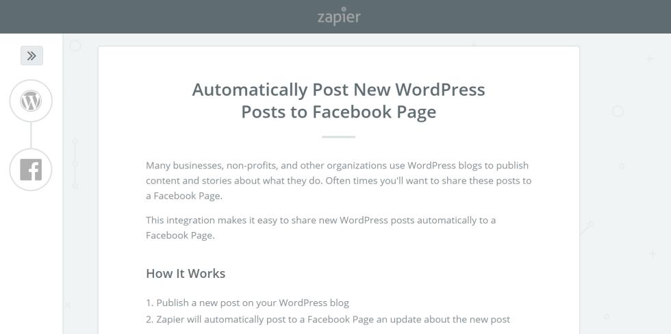 Configuration zap facebook