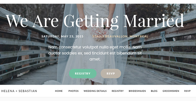 Meridian wedding themes wordpress creer site web mariage fiancailles epouse marie mariee