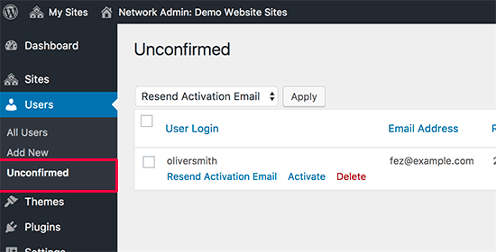 Utilisateurs en attente de confirmation