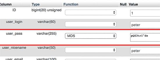 Utiliser une fonction md5 phpmyadmin
