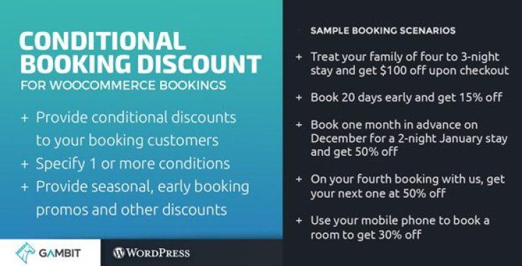 Wc conditional booking discounts plugin wordpress pour réduction