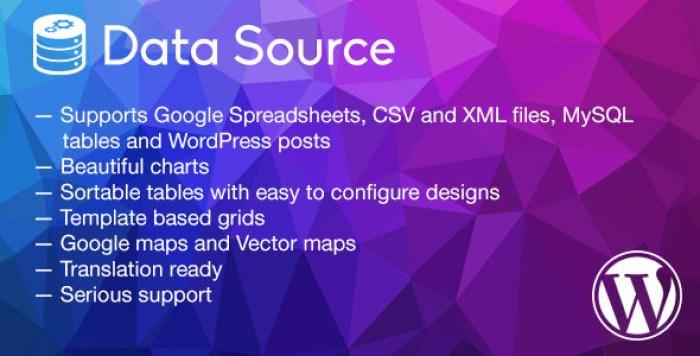 Plug-ins de wordpress de fonte de dados inserir tabelas gráficas website blog formulário