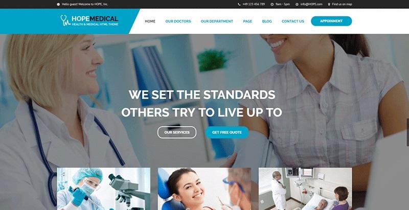 Hope medical themes wordpress creation sites web hopital clinique dispensaire