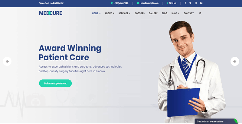 Medcure theme wordpress creer site web hopital