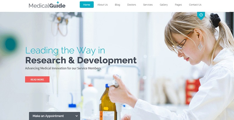Medicalguide themes wordpress creation sites web hopital clinique dispensaire