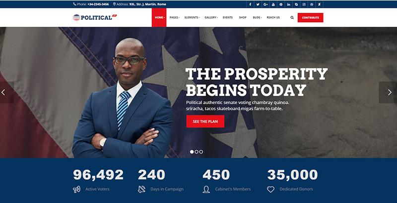 thèmes WordPress pour créer un site web de campagne électorale - political