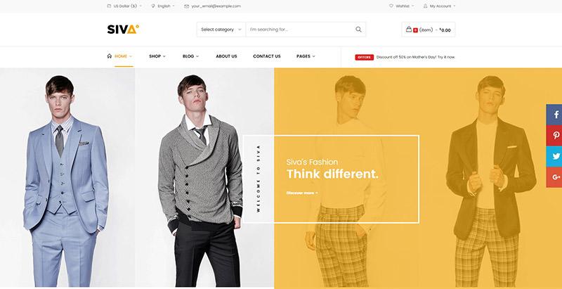 thèmes WordPress pour créer un site web d'e-commerce - Siva