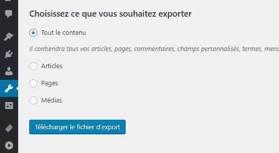 Exporter un contenu wordpress