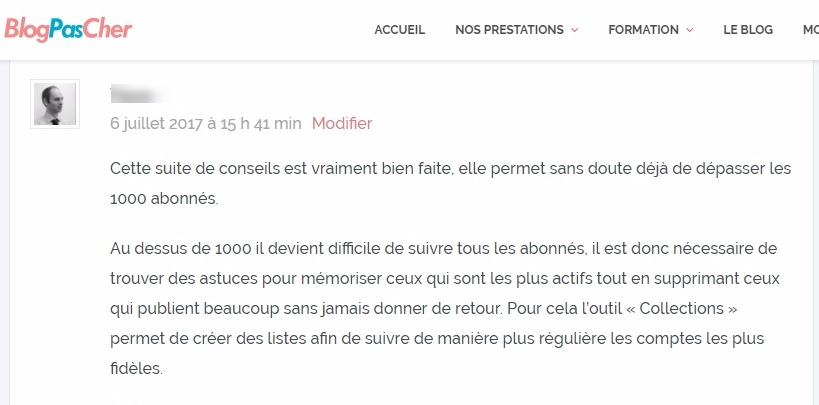 Section de commentaires sur wordpress
