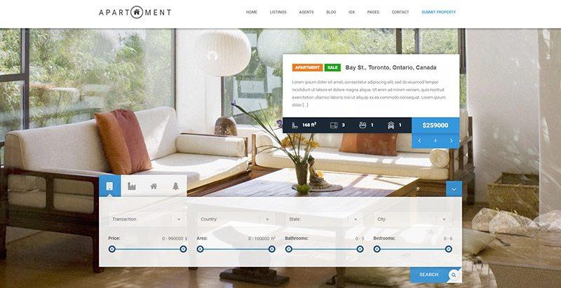 meilleurs thèmes WordPress pour vente de maisons - Apartment wp