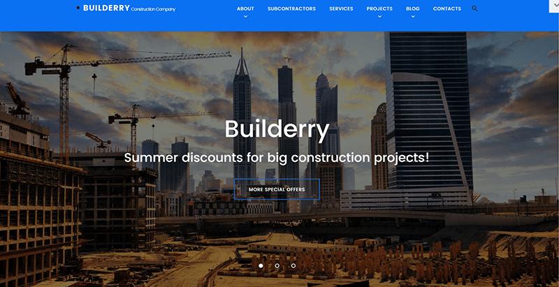 Builderry themes wordpress site web entreprise construction architecte immobilier