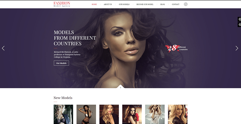 Faxhion themes wordpress creer site web agence top models mannequins fashion