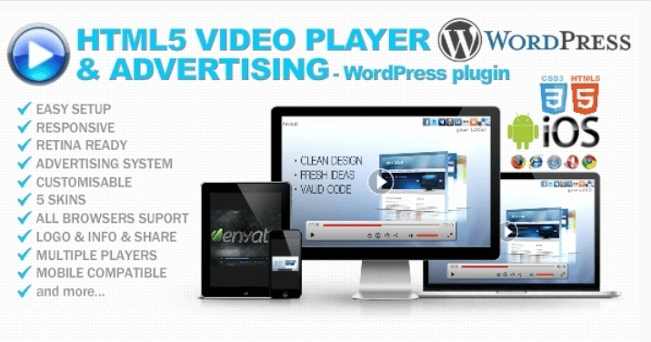 Html5 video player advertising wp plugin
