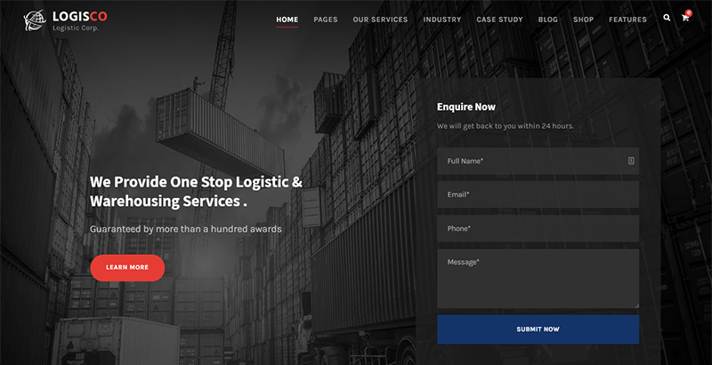 Logisco Logistics Transportation Wordpress Theme