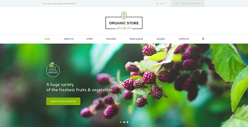 Organic store themes wordpress creer site web vente produits bio alimentation nutrition ferme