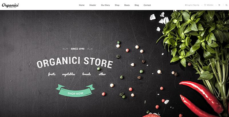 Organici themes wordpress creer site web vente produits bio alimentation nutrition ferme
