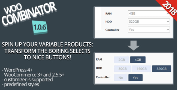 Woocombinator for variable products turn your boring selects into buttons