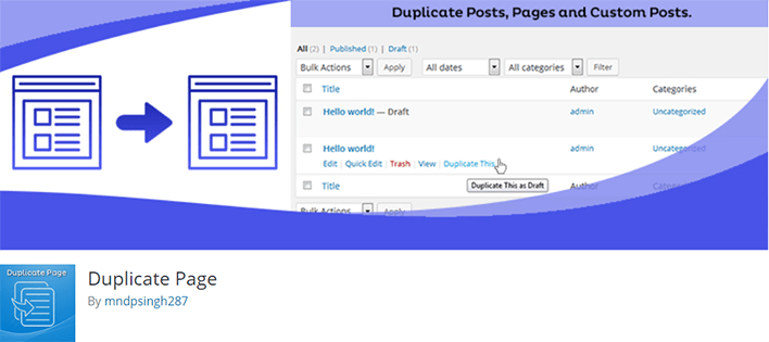 Comment dupliquer facilement article page wordpress