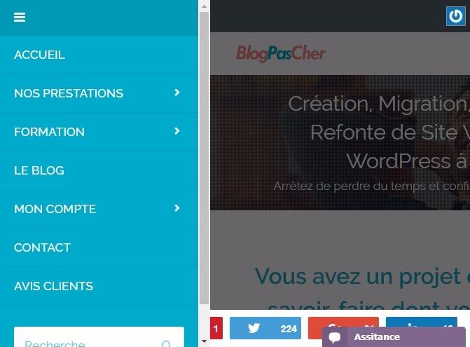 Menu de navigation wordpress blogpascher