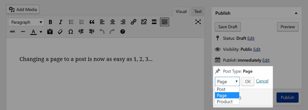 Transformer un page en article