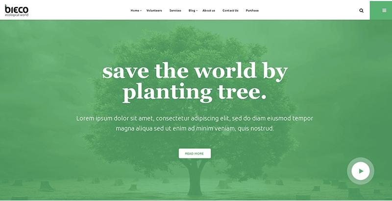 Bieco themes wordpress creer site web organisation ecologique environnement ecosysteme