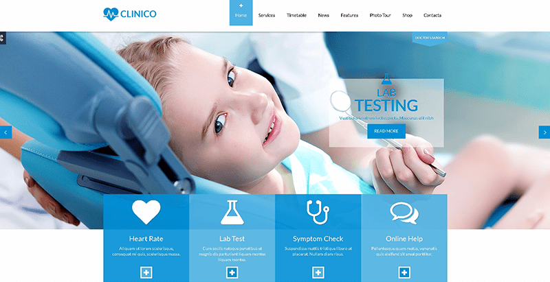 Clinico themes wordpress creer site web clinique sante hopital