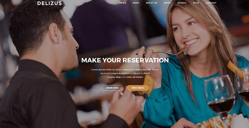 Delizus 테마 워드 프레스는 웹 사이트 레스토랑 카페 빵집 resto 만들기 1