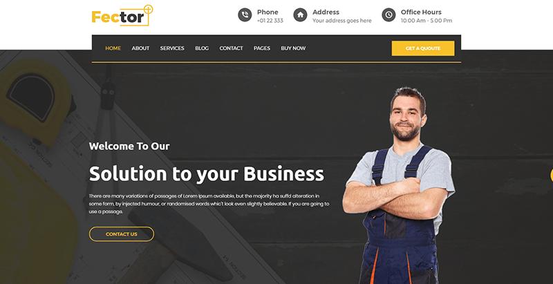 Fector plus themes wordpress creer site web entreprise construction architecture genie civil