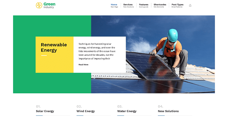 Greenindustry themes wordpress creer site web organisation ecologique environnement ecosysteme
