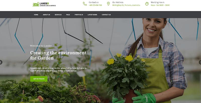 Lander themes wordpress creer site web organisation ecologique environnement ecosysteme