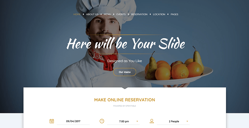 Pearl themes wordpress creer site web restaurant bistrot boulangerie