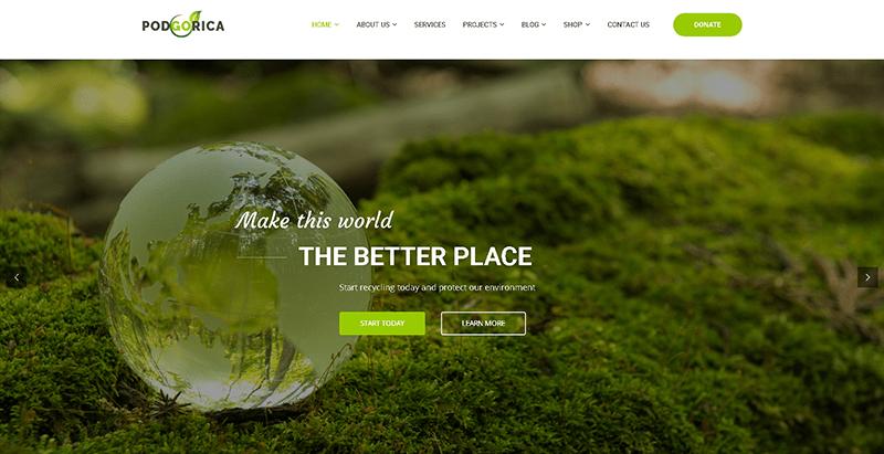 Podgorica themes wordpress creer site web organisation ecologique environnement ecosysteme