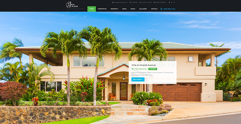 Real places themes wordpress creer site web vente maisons appartements villas