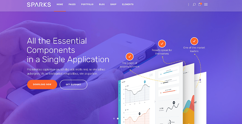 Sparks themes wordpress creer site web applications mobiles logiciel