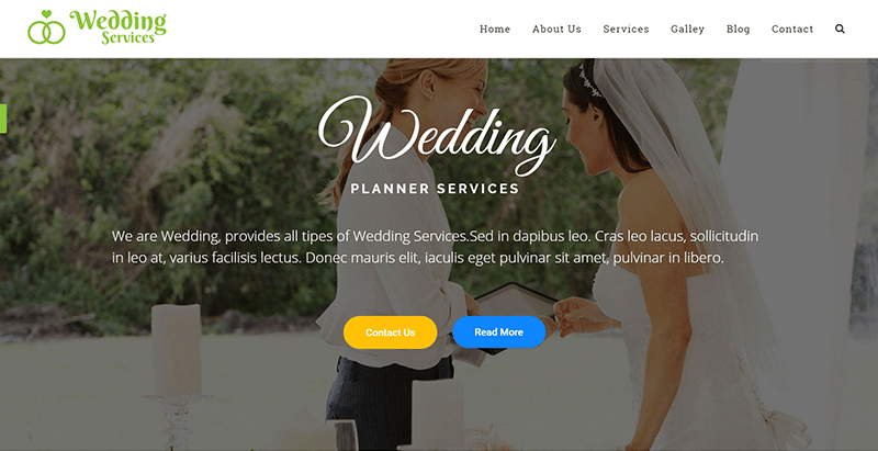 Wedding services themes wordpress creer site web mariage ceremonie nuptiale evenement