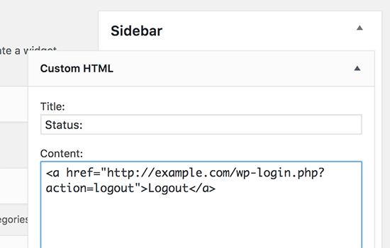 Ajouter un widget texte avec lien de déconnexion