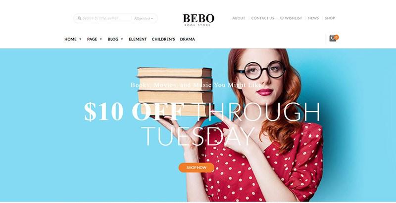 Bebo themes wordpress site internet vente ebooks librairie bibliothèque auteur maison edition