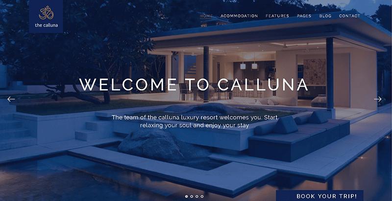 Calluna themes wordpress creer site web hotel motel auberge