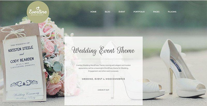 Everline themes wordpress créer site web mariage fiançailles époux fiancé