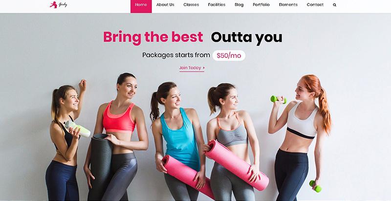 Girly gym themes wordpress creer site web clubs fitness yoga