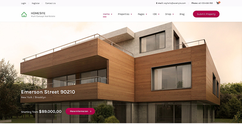 Homesite themes wordpress creer site internet agence for Agence immobiliere site