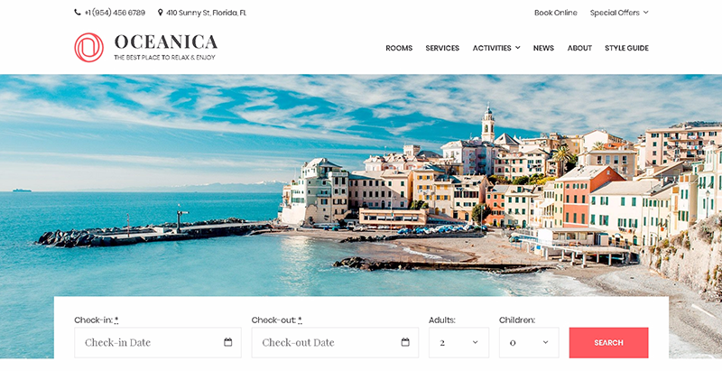 Oceanica themes wordpress creer site web hotel auberge motel voyages