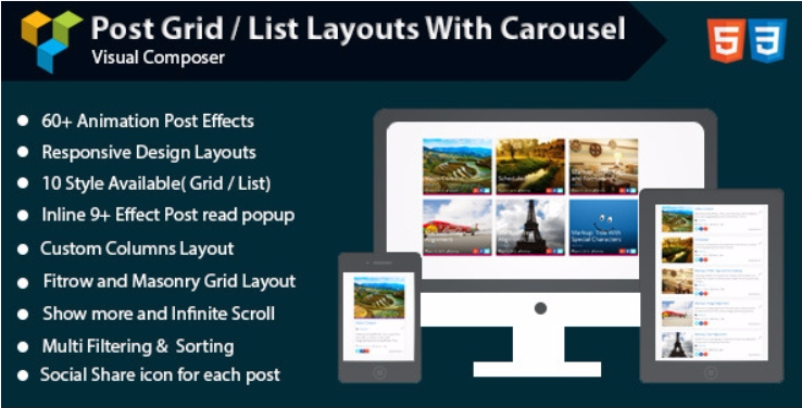 Post grid list layout with carousel